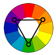 ფერთა კომბინაცია--ტოლგვერდა სამკუთხედი