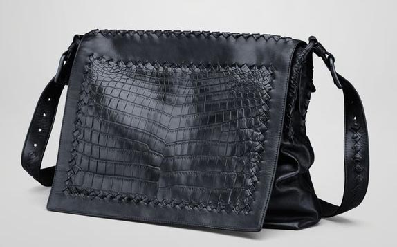 Bottega Veneta Tourmaline Light Calf Soft Crocodile Messenger Bag, $5950 via Bottega Veneta