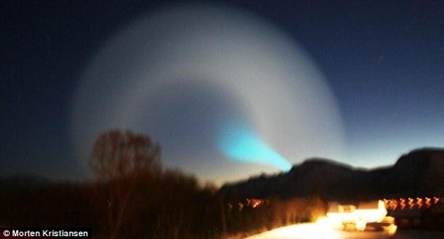 სპირალისებული ნათება ნორვეგიის ცაზე