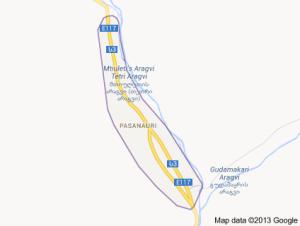 ფასანაური საქართველოს რუქაზე.Pasanauri